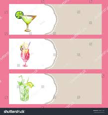 set cocktail party banners hand drawn stock vector 294871148