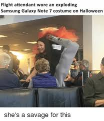 Samsung Meme - flight attendant wore an exploding samsung galaxy note 7 costume