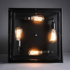 loft square outdoor ceiling lights industrial iron art craft trunk