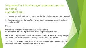 introduction to the world of hydroponic gardening presented by