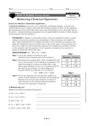 balancing chemical equations learning how 9th 12th grade
