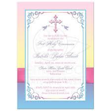 Holy Communion Invitation Cards Samples Pretty Pastels First Holy Communion Invitation Flowers Printed