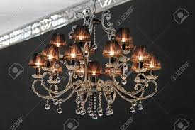 chandelier style lamp shades retro style crystal chandelier with dark lampshades stock photo