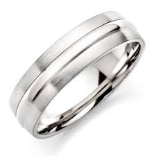 mens silver rings men s brushed polished titanium ring 0004885 beaverbrooks