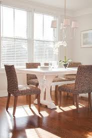 Dining Room Wicker Chairs White Trestle Dining Table With Wicker Dining Chairs Cottage