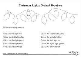 ordinal numbers worksheet christmas 1