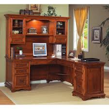 L Shaped Computer Desks With Hutch Classic Brown Varnished Teak Computer Table Decor With Lighted