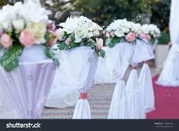 beautiful flower wedding decoration church stock photo 117694726