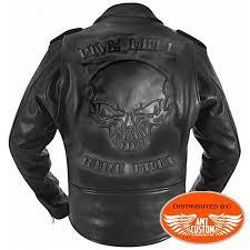 leather biker jacket skull hells design amt custom shop