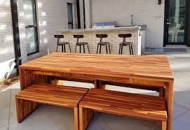 Wooden Table L Modern Redwood Patio Table With Benches Forever Redwood