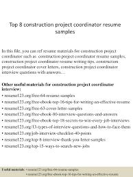 Project Coordinator Resume Sample Top8constructionprojectcoordinatorresumesamples 150331221818 Conversion Gate01 Thumbnail 4 Jpg Cb U003d1427858341