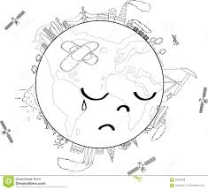 sad planet earth coloring page stock vector image 93399238