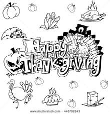 doodle happy thanksgiving draw stock vector 445792843