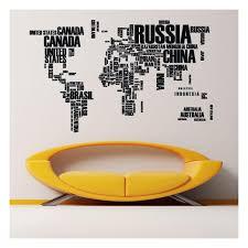 Decorative World Map Vinyl World Map Texts