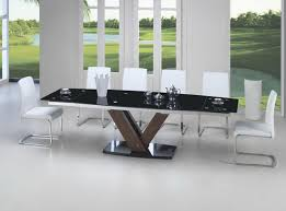 Black Glass Extending Dining Table Black Glass Walnut Extending Dining Table 2 9m 8 Chairs