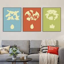 compare prices on pop art wall art online shopping buy low price azqsd triptych art print poster pop japanese anime game pocket monster canvas wall pictures room decor