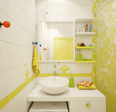 interior sweet modern yellow and white bathroom decoration using