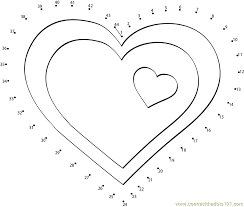 valentine hearts clip art dot to dot printable worksheet connect
