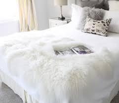 Lamb Skin Rugs Genuine Natural White Mongolian Lambskin Fur Bed Runners And Scarf