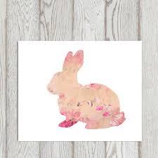 bunny print pink bunny printable floral bunny wall art nursery