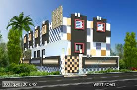 way2nirman 100 sq yds 20x45 sq ft west face house 1bhk elevation