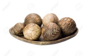 wooden balls up of decorative wooden balls on a tray stock photo picture