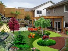 lovely backyard with small pool desaign and comely flower on big