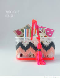 Desk Storage Containers Embroidered Storage Cute Way To Jazz Up Plain Plastic Containers
