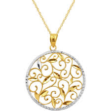 round pendants necklace images 10k two tone diamond cut round pendant gold necklaces pendants jpg
