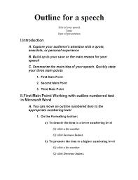 Speech Template speech outline office templates