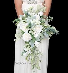 wedding flowers eucalyptus all white wedding flower bouquet with lots of greenery foliage