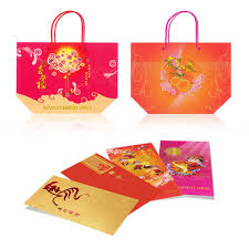 bag new year new year cny packets orange carrier bag greeting