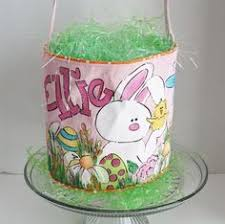 painted easter baskets easter basket painted canvas style by twizzlestitches