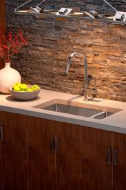 kitchen stone back splash with double stainless elkay sinks and
