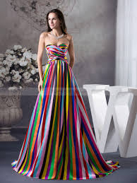 colorful dress colorful stripe featured elastic satin prom dress