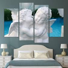 Popular Artwork Aliexpress Com Buy 4 Panels Lovely Angel Wall Art Decorative