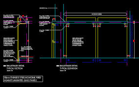 Handrail Construction Detail Cad Details Handrail Balustrade Mono Rail 50mm Fixed To