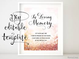 wedding memorial wording printable memorial sign template diy wedding memorial sign