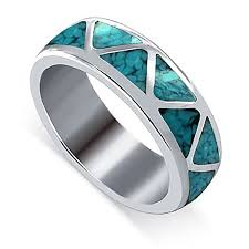 turquoise gemstone gem avenue unisex 925 sterling silver turquoise gemstone inlay