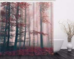 red gray mystic forest mystical foggy decor shower curtain extra