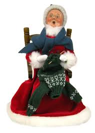 red velvet mrs claus knitting caroler figurine by byers u0027 choice