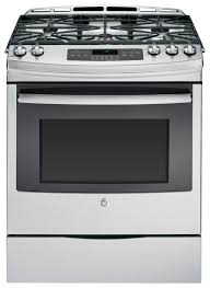 Gas Stainless Steel Cooktop Ge 5 6 Cu Ft Self Cleaning Slide In Gas Convection Range Silver