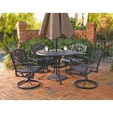 5 Pc Patio Dining Set Biscayne Black 7 Pc Outdoor Dining Table 4 Swivel Rocking