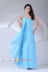 aqua blue chiffon prom gown floor length one shoulder bridesmaid