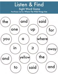 where the wild things are listen u0026 find sight word activities