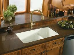 White Granite Kitchen Sink Kohler K 6625 0 Iron Tones Smart Divide Self Or
