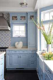 interior blue kitchens in elegant fusion blue kitchen units
