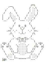 easter bunnies and chocolate rabbits in ascii text ascii