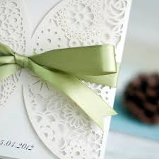 Bridal Invitations Inexpensive Simple White Laser Cut Wedding Invitations With Sage
