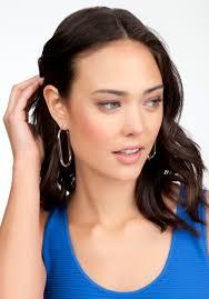oval hoop earrings bebe oval hoop earrings in metallic lyst